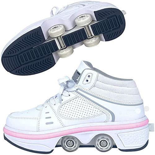 Rollschuhe Mädchen/jungen,schuhe Mit Rollen Skateboardschuhe Kinder,quad Skate Rollerskates Für Damen,2 In 1...