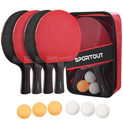 Easyroom Tischtennisschläger Set, 4 Tischtennis-Schläger + 6 Tischtennisbälle Tischtennis Schläger Set mit...