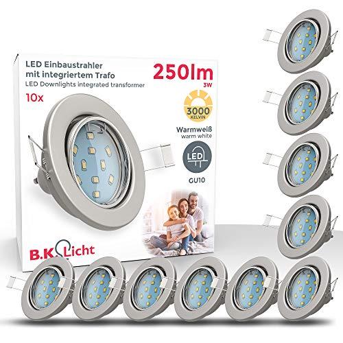 LED Einbaustrahler I Schwenkbar I Inkl. 10 x 3W GU10 Leuchtmittel I IP23 I Warmweiße Lichtfarbe I 10er Set...