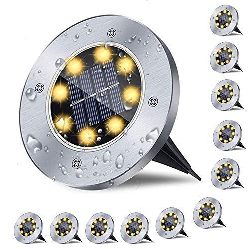 12er Solar Bodenleuchten , Solarlampen f¨¹r Au?en , 8 LED Gartenleuchten Solar, IP65 Wasserdicht Solarlampe...
