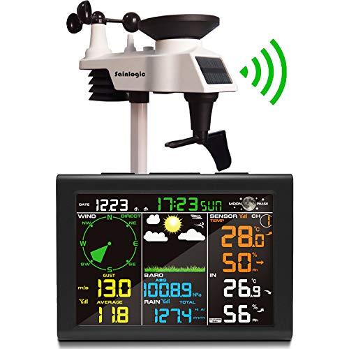 Sainlogic Wetterstation Funk mit Außensensor, 8-in-1 Funk Wetterstation mit Wettervorhersage,Temperatur,...