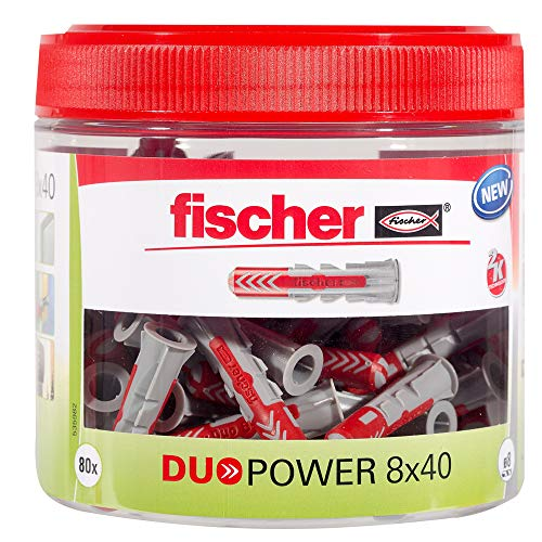 fischer DUOPOWER 8 x 40, handliche Runddose mit 80 Universaldübeln, leistungsstarker 2-Komponenten-Dübel,...