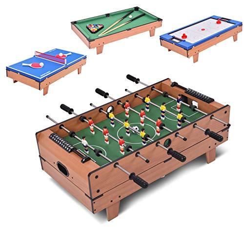 DREAMADE Multifunktionaler Spieltisch, Tischkicker aus Holz, TischfußballKickertisch für Erwachsene &...