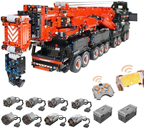 Foxcm Technik Kran LKW, Technic Mobiler Schwerlastkran, Groß MOC Ferngesteuert Autokran mit 8 Motoren, 7986...
