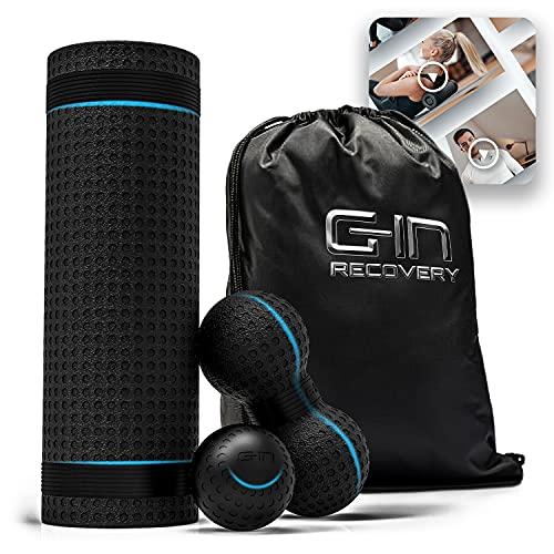 G-IN Faszienrolle ALL-IN-ONE Faszien Set mit Massagekugel und Duoball [optimaler Härtegrad] - INKL. Online...