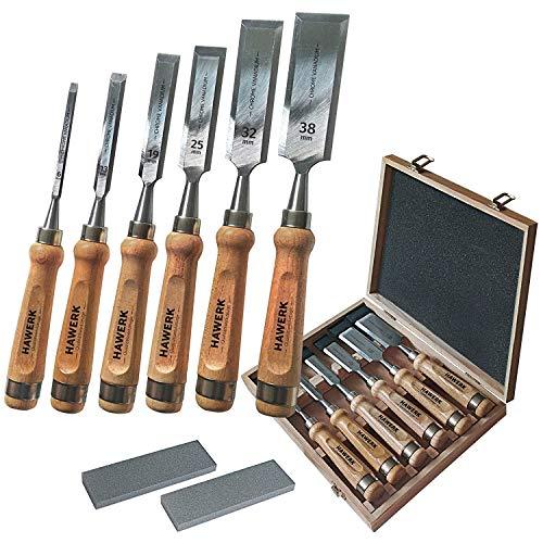 Stemmeisen Stechbeitel Set für Holz   6 Beitel + 2 Abziehsteine + Koffer von Hawerk