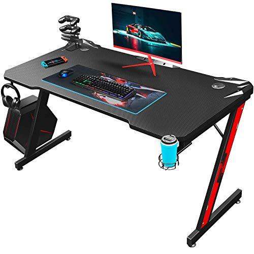 Homall Gaming Tisch Gaming Schreibtisch Gamer Computertisch Ergonomischer PC Tisch 110 cm Z-Frame mit...