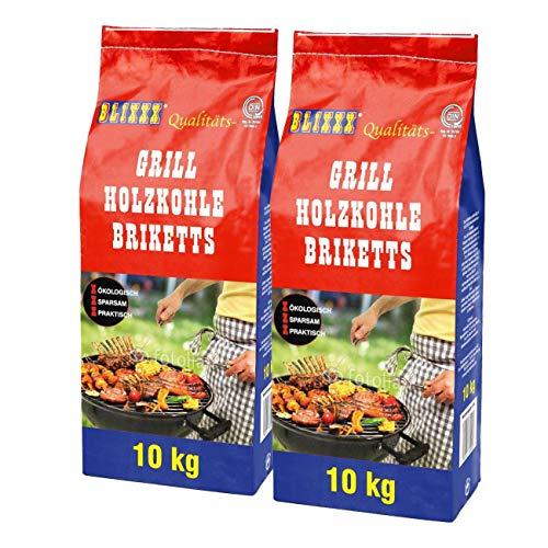 BLIXXX 10Kg Grillbriketts Holzkohle Grillkohle Holzkohlebriketts Holzkohlegrill Grill (20kg)