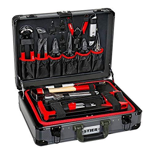 STIER Universal-Werkzeugsortiment im Aluminiumkoffer 144-teilig, Werkzeugkoffer bestückt gefüllt, Werkzeug...