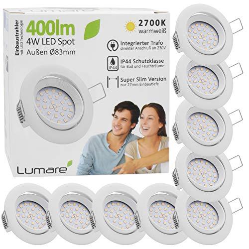 9x Lumare LED Einbaustrahler 4W 400 Lumen IP44 nur 27mm extra flach Einbautiefe LED Leuchtmodul austauschbar...