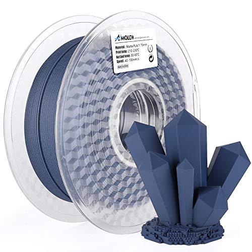 AMOLEN Matte PLA Filament 1.75mm, Navy Blau 3D Drucker PLA Filament, 3D Druck PLA Material, 1KG +/- 0.03mm