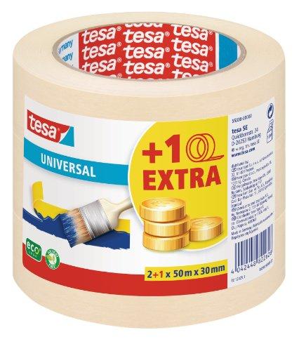 tesa Malerband fr einfache Malerarbeiten, 3er Pack, 50m x 30mm