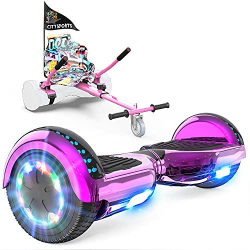 GeekMe Hoverboard mit Sitz, Elektroroller Hoverkart, Elektro Scooter Go-Kart mit Bluetooth-Lautsprecher...