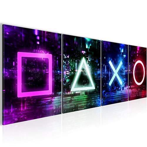 Bilder Set Spielkonsole Gamer Wandbild Wohnzimmer XXL 160x50 cm Bunt Jugendzimmer Teenager 038846a