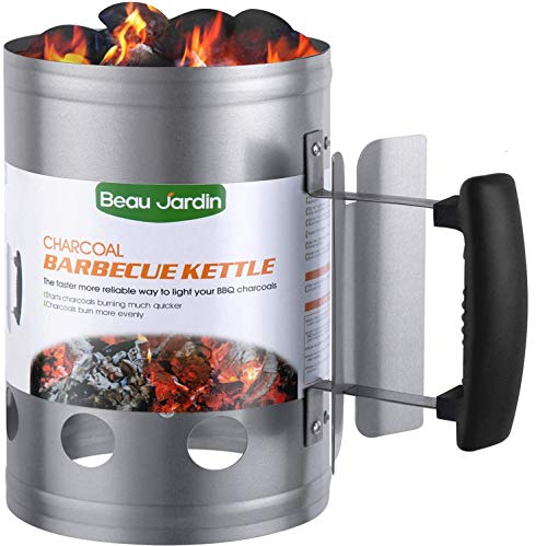 BEAU JARDIN 28x18cm Anzündkamin Rapidfire Grillen Kohle Grillkohleanzünder für BBQ Grillstarter Kompakt...