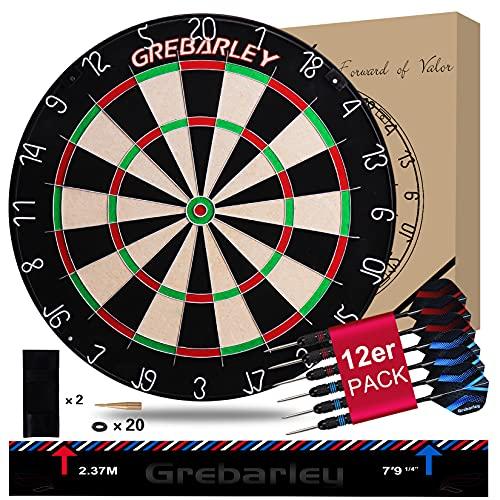 Grebarley Dartscheibe Kork Dartscheibe mit Pfeilen Offizielles Turniermaß Dart Scheibe Dartboard...
