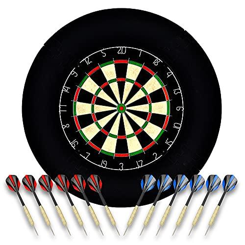 Linkvisions Sisal/Borsten-Dartscheibe mit Stapelfreiem Bullseye, 18 g Stahlspitzen-Dartset,...