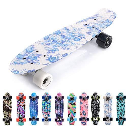 meteor Skateboard Kinder - Mini Cruiser Kickboard - Skateboard mädchen Rollen Board - Kunststoff Skateboards...