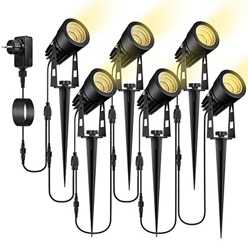 Gartenbeleuchtung, ECOWHO 6er Set Gartenleuchte mit Erdspieß, IP65 Wasserdicht LED Gartenstrahler mit...
