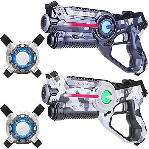 Light Battle Active Lasertag für zuhause - 2X laserpistole (camo weiß, camo grau) + 2 Weste - LBAPV22267