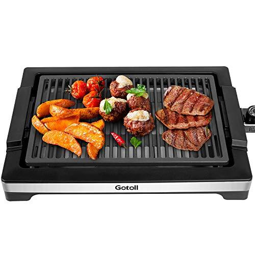 Gotoll Elektrischer Tischgrill, Elektrogrill antihaftbeschichtet Grillplatte, raucharmer Indoor BBQ Grill,...