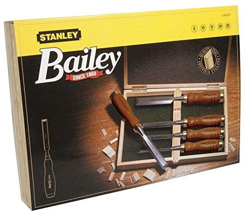 Stanley Bailey Stechbeitel Set 5-teilig (6/10/15/20/25 mm Beitelbreite, gehärteter Stahl, Kunststoffkappe)...