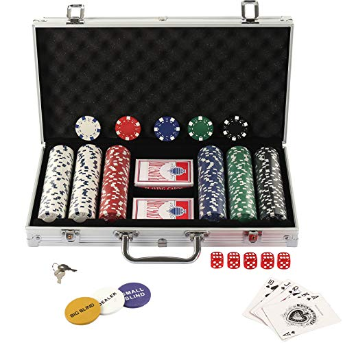 Display4top Pokerkoffer 300 Chips Laser Pokerchips Poker 12 Gramm , 2 Karten, Händler, Small Blind, Big Blind...