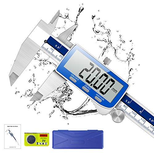 Messschieber Digital, Qfun Edelstahlmaterial Schieblehre digital 150mm mit Ersatzbatterie, IP54 Wasserdichte,...