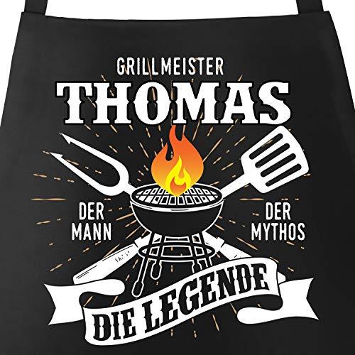 MoonWorks® Grill-Schürze mit Spruch personalisierbar personalisierbar Grillmeister [Wunschname] der Mann,...