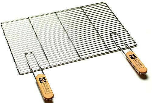 Edelstahl-Grillrost mit abnehmbaren Handgriffen 54 x 34 cm