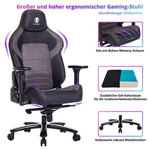 VON RACER KILLABEE großer und breiter Memory-Schaum Gaming Stuhl mit Gel Kaltschaum Lenden- / Sitzkissen und...