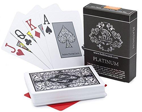 Bullets Playing Cards Premium Profi Plastik Pokerkarten Platinum mit Zwei Eckzeichen - Deluxe Kartenspiele mit...