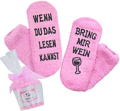 Wein-Socken, Geschenk für Frauen, WENN DU DAS LESEN KANNST BRING MIR WEIN, Geburtstagsgeschenk für Freundin,...