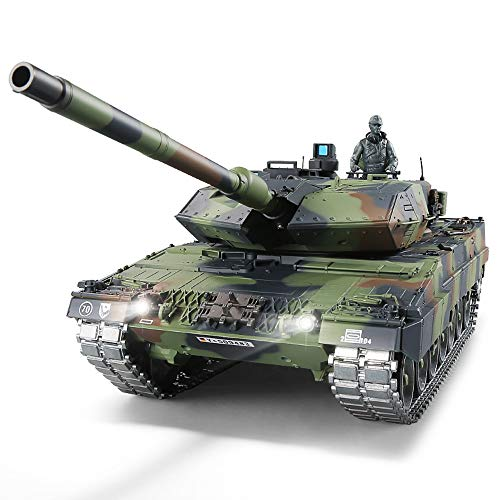 RC Panzer mit Schussfunktion ferngsteuert 'German Leopard 2A6' Heng Long 1:16 mit R&S, Metallgetriebe (Stahl)...