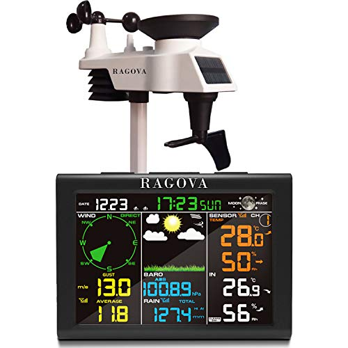 Ragova Wetterstation Funk mit Außensensor, 8-in-1 Funk Wetterstation mit Wettervorhersage,Temperatur,...