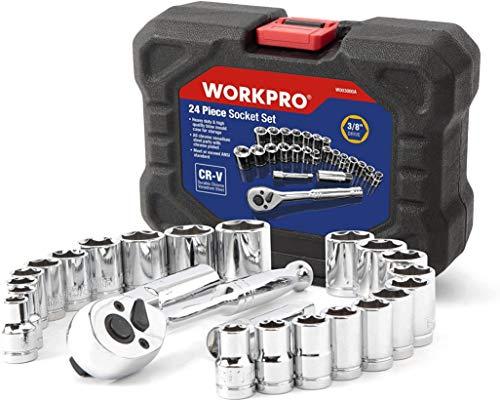 WORKPRO Steckschlüsselsatz 3/8' Umschaltknarre mit Steckschlüssel (metrisch & zoll) inkl. Werkzeugkasten...