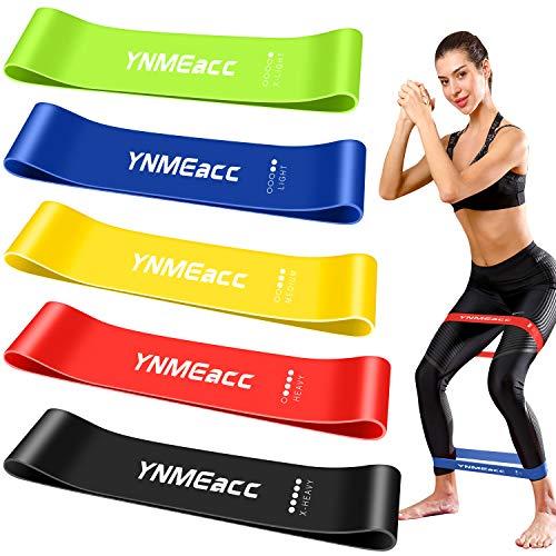 YNMEacc Fitnessbänder [5er Set] Widerstandsbänder, Theraband Trainingsband Gymnastikband aus Naturlatex mit...