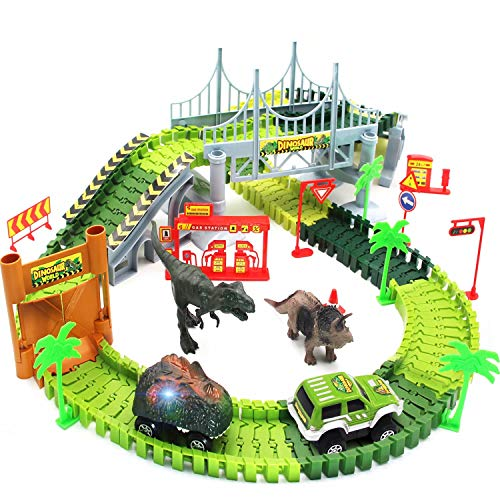 Dinosaurier Spielzeug, Flexible Auto Rennbahnen mit Dinosauriern, Militärfahrzeug, Bäumen, Pisten, Tür, Set...