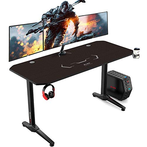 AuAg Gaming Tisch 140 cm, Groß Gaming Schreibtisch for PC Ergonomischer Gamer Tisch, Schwarz Computertisch...