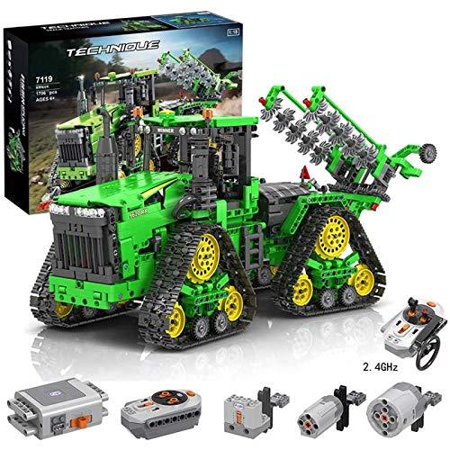 WANCHENG Technik Traktor Ferngesteuert mit Allrad, 1706 Teile Traktor Raupentraktor LKW mit 3 Motoren und 1...