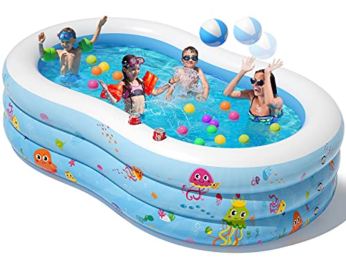 Peradix Aufblasbare Pool, 240 x 150 x 60 cm Planschbecken Groß, Familienpool, Schwimmbecken für Kinder,...