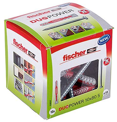fischer DUOPOWER 10 x 80 S, Universaldübel mit Sicherheitsschraube, 2-Komponenten-Dübel, Kunststoffdübel...
