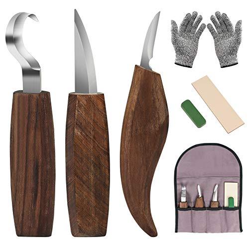 DIAOPROTECT Holz Schnitzmesser,6-in-1 Walnuss Schnitzmesserset-Beinhaltet...