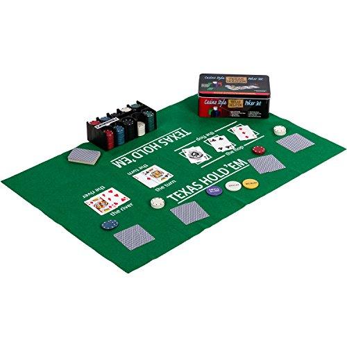 Maxstore Pokerset in Metallbox, 200 Poker Chips, 2 Decks, Dealer Button, Small Blind, Big Blind, Spielmatte...