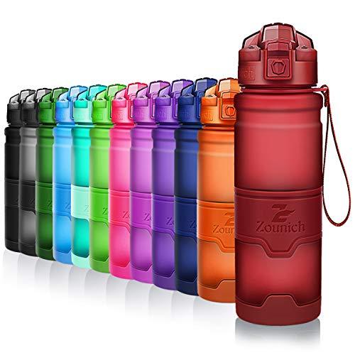 ZOUNICH Trinkflasche Sport BPA frei Kunststoff Sporttrinkflaschen für Kinder Schule, Joggen, Fahrrad, öffnen...