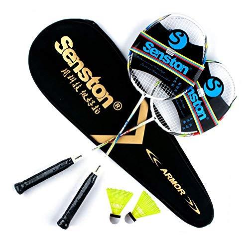 Senston Carbon Profi Badminton Set Leichtgewicht Badmintonschläger Badminton Schläger Federballschläger mit...