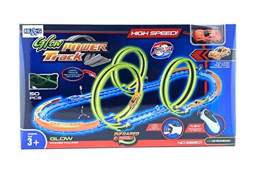 RB&G Track Set High Speed Rennbahn mit Leuchtspur Looping Inkl. Fahrzeug mit Controller