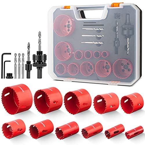 Lochsäge Bimetall, Meinraum 17 PCS Lochfräse Set mit 11 Sägeblättern 19mm-68mm, inklusiv 2 Schafte, 3...