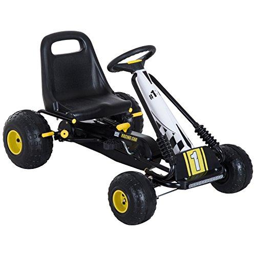 HOMCOM Go Kart Tretauto Tretfahrzeug mit Handbremse ab 3 Jahre Kinder Schwarz 95 x 66,5 x 57cm
