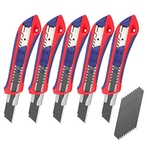 WORKPRO 5 Stück Cuttermesser Set 18mm Abbrechklinge Kartonmesser aus SK5,Mehrzweck Messer Allzweckmesser mit...